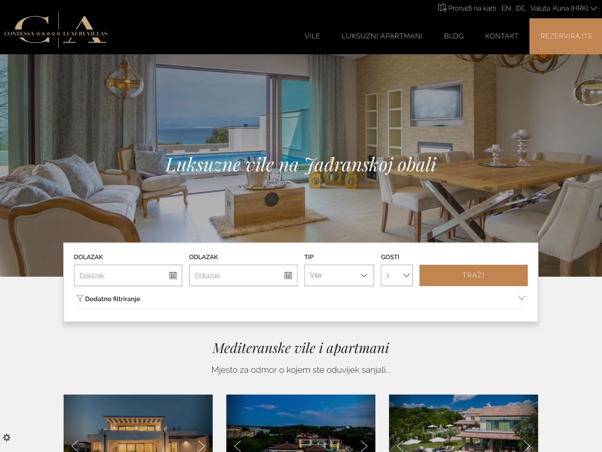 Contessa - luxury villas and apartments Website