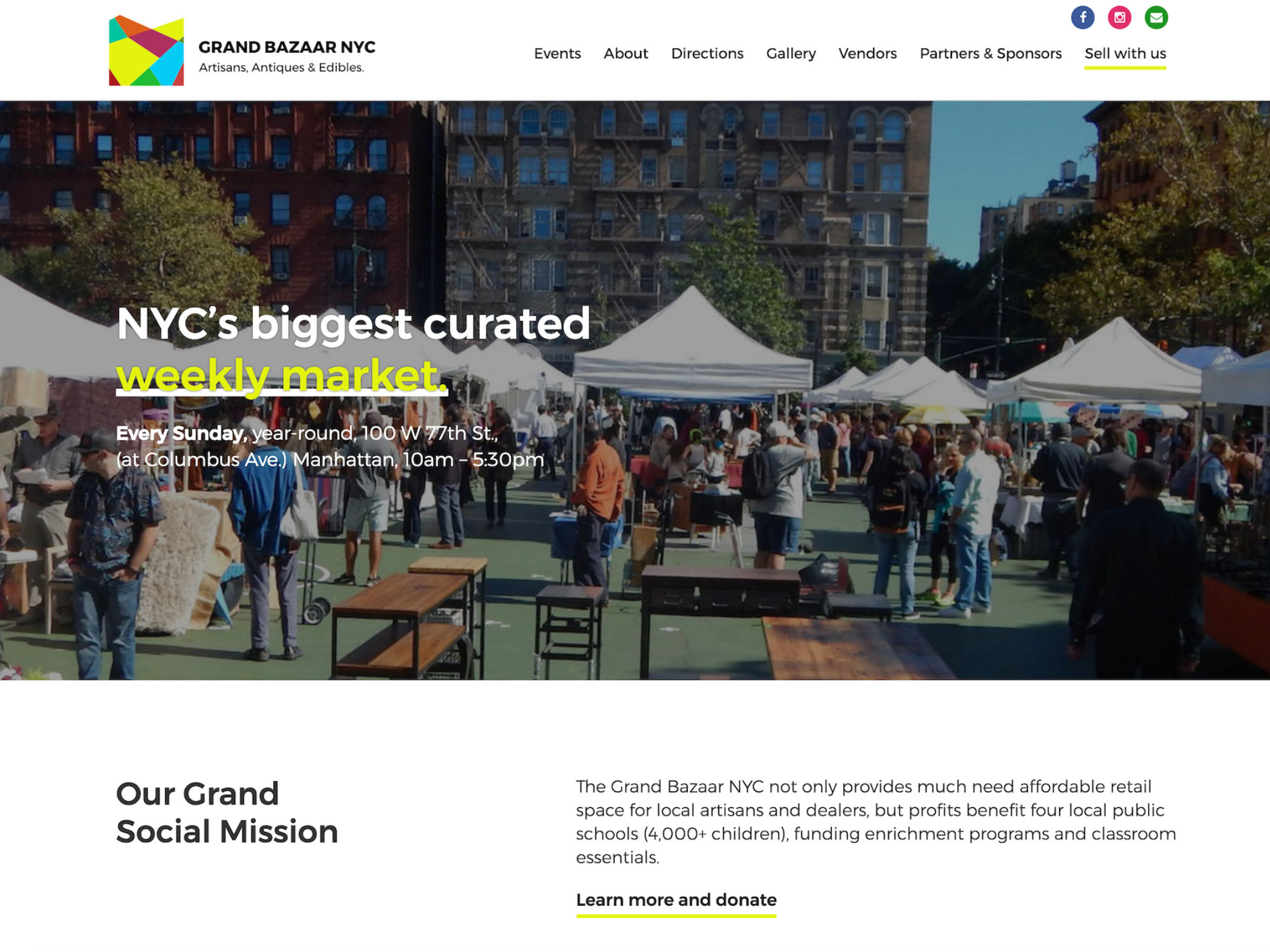 Grand Bazaar NYC Website