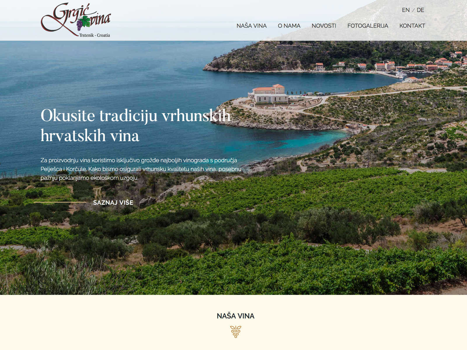 Grgić vina Website