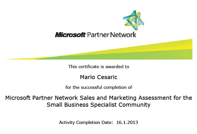 Microsoft Partner Network Sales and Marketing Assessment for the Small Business Specialis