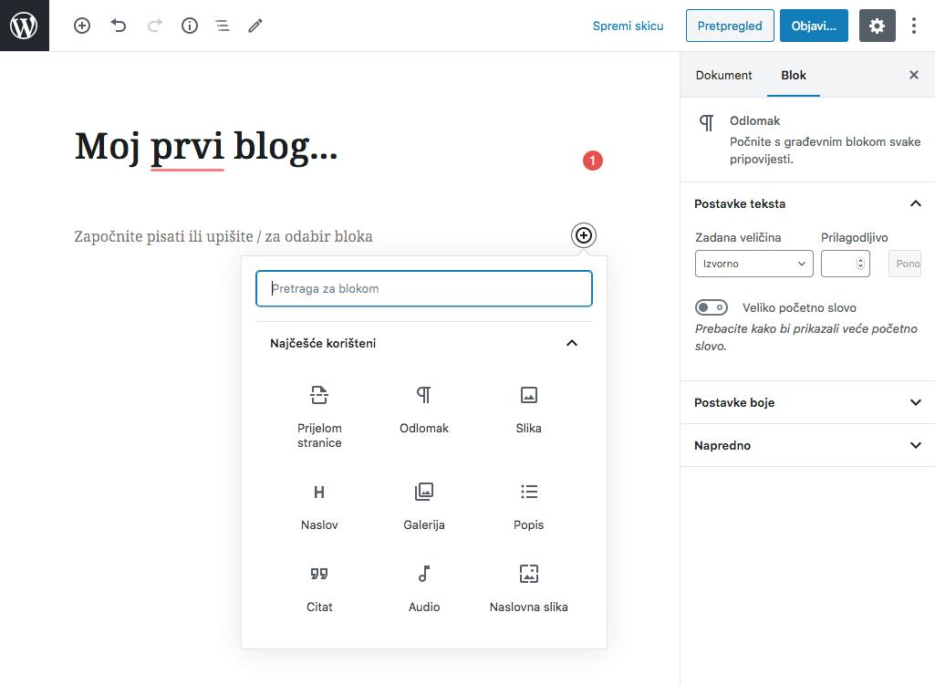 Gutenberg - novi WordPress uređivač